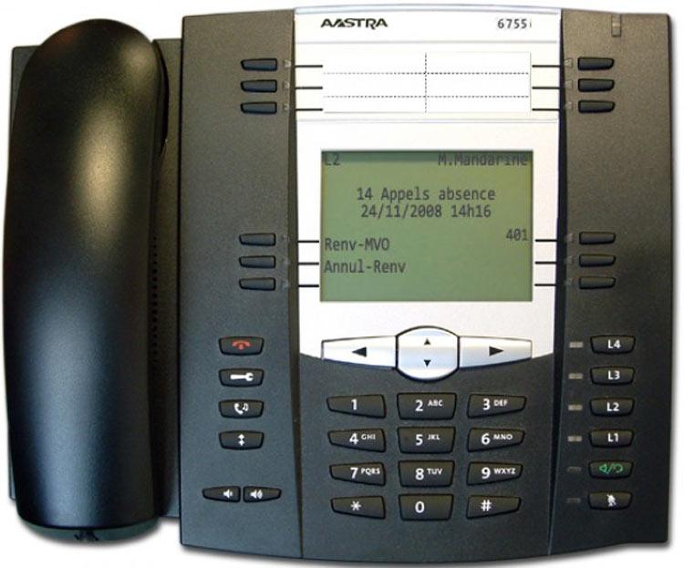 نمای روبرو Aastra 6755i IP Phone