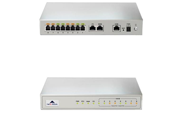 نمای پشت و جلو Newrock MX8A-2S/2 Gateway