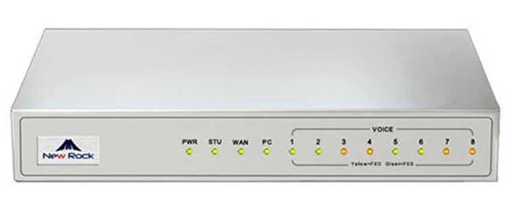 نمای بالا روبرو Newrock MX8A-4FXO Gateway