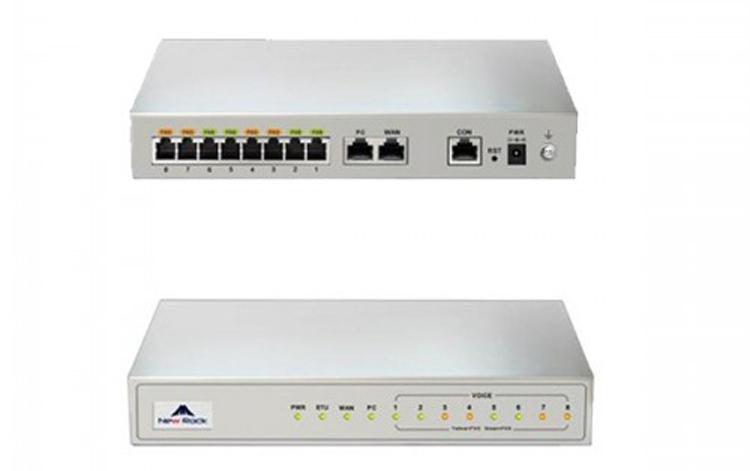 نمای جلو و عقب Newrock MX8A-8FXO Gateway