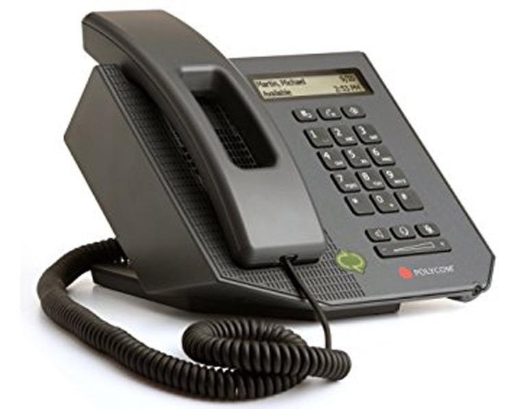 نمای سمت چپ Polycom CX300 Desktop phone