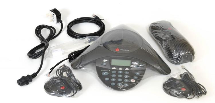 همراه با سیم های اتصالات Polycom Soundstation 2 conference phone