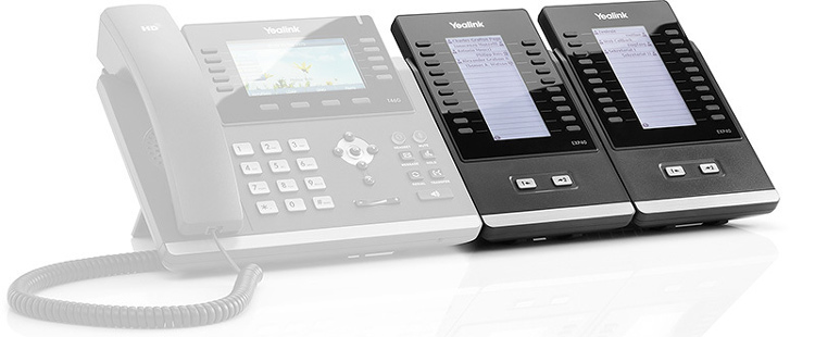 نمای جانبی در کنار گوشی آی پی Yealink EXP40 Expansion Module