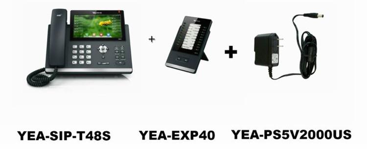 به همراه ماژول گسترش و سیم شارژر Yealink-T48S-IP-Phone-2