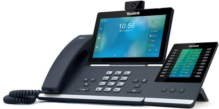 نمای بغل همراه با ماژول گسترشYealink-T58V-IP-Phone